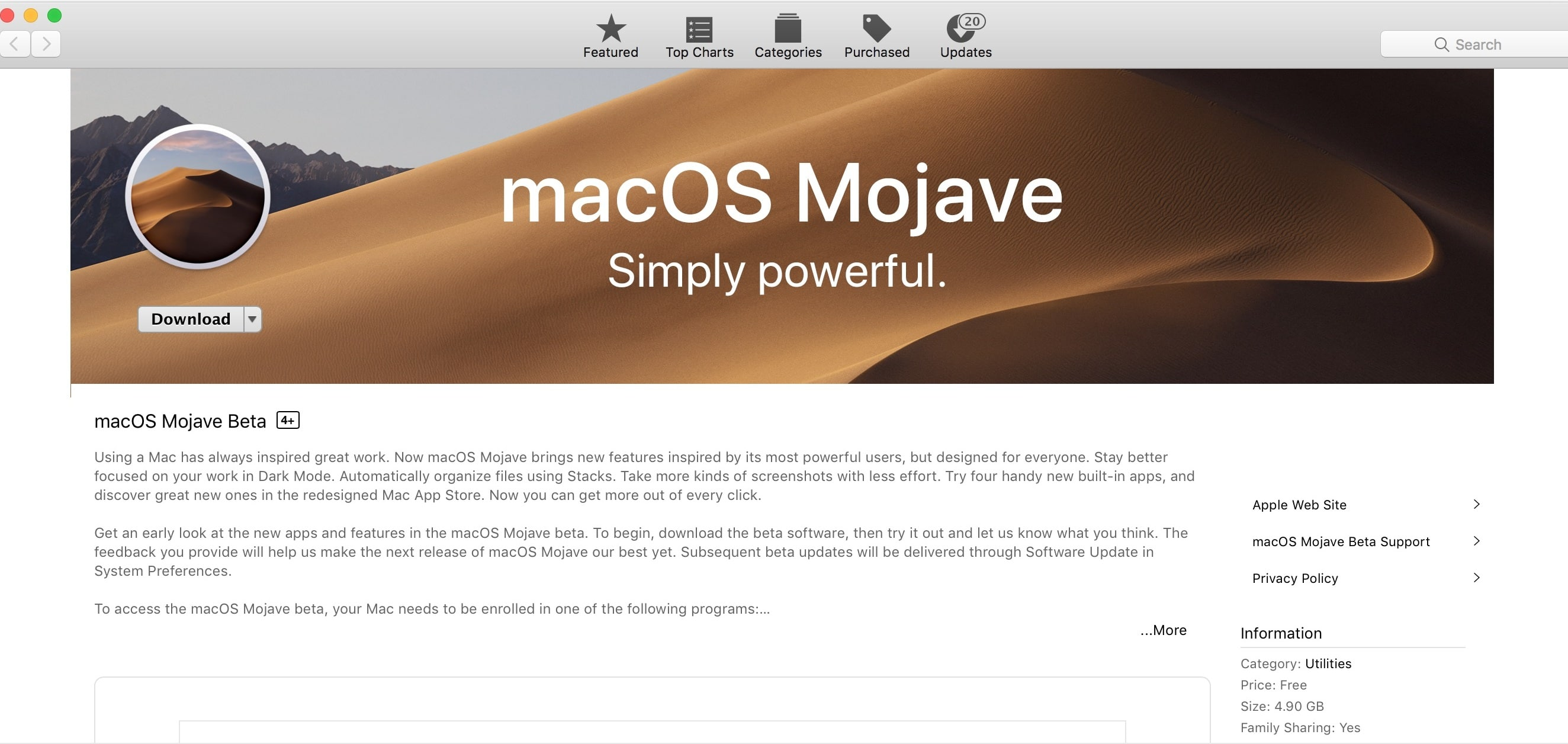 Download the macOS Mojave