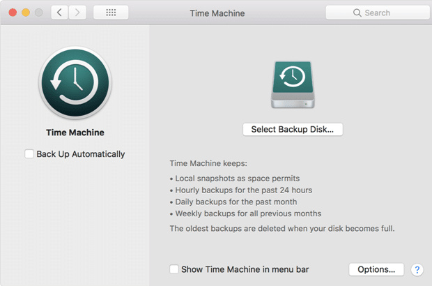 MacOS Mojave Backup Data